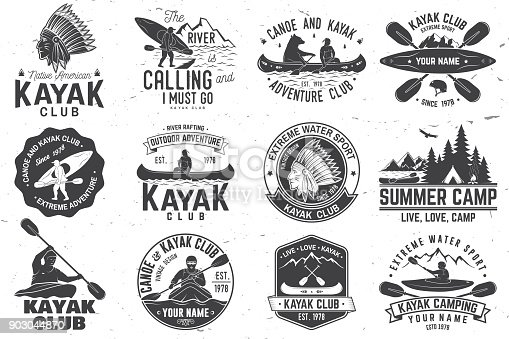 Set of canoe and kayak club badges. Vector. Concept for shirt, print, stamp or tee. Vintage typography design with mountain, river, american indian and kayaker silhouette. Extreme water sport.
