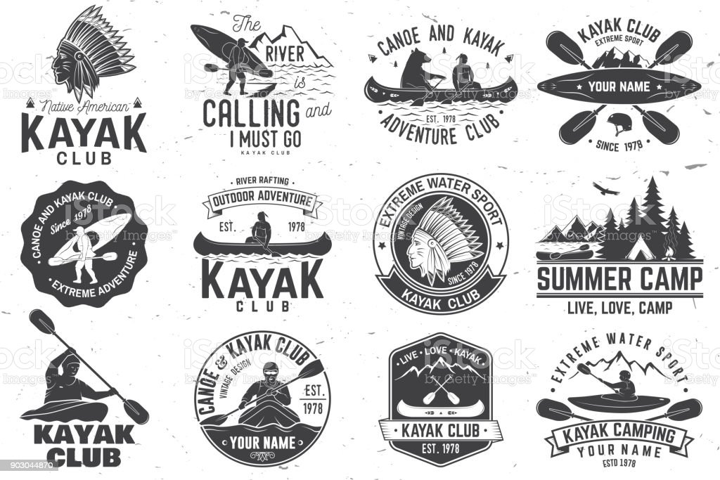 Set of canoe and kayak club badges. Vector illustration vector art illustration