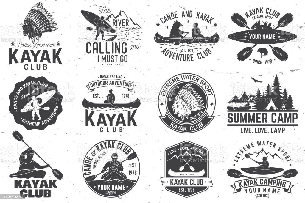 Juego de insignias de club de canoa y kayak. Ilustración de vector - ilustración de arte vectorial
