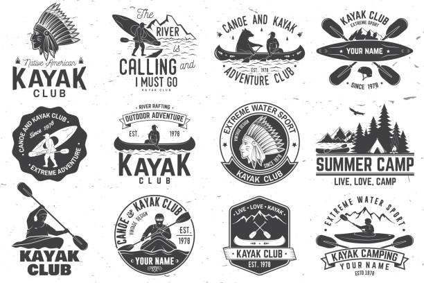 set of canoe and kayak club badges. vector illustration - kayaking stock illustrations, clip art, cartoons, & icons