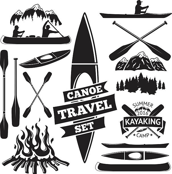 set of canoe and kayak design elements. two man in - kayaking stock illustrations, clip art, cartoons, & icons