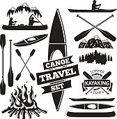 Set of canoe and kayak design elements. Two man in