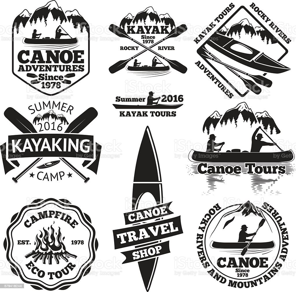 Set of canoe and kayak labels. Two man in a - ilustración de arte vectorial