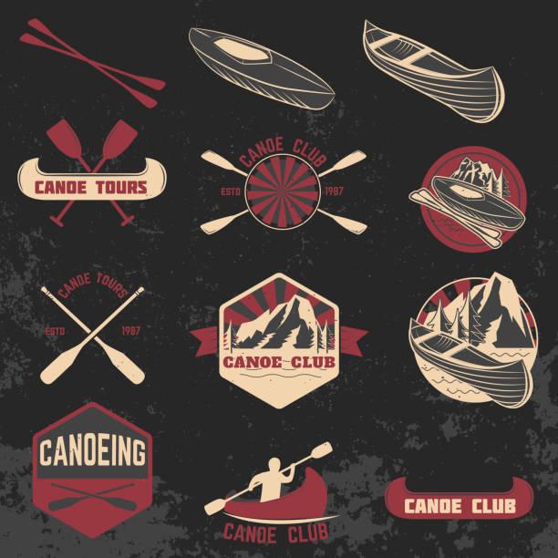illustrations, cliparts, dessins animés et icônes de ensemble de club de canoë étiquettes, écussons et éléments de conception. - sports de pagaie