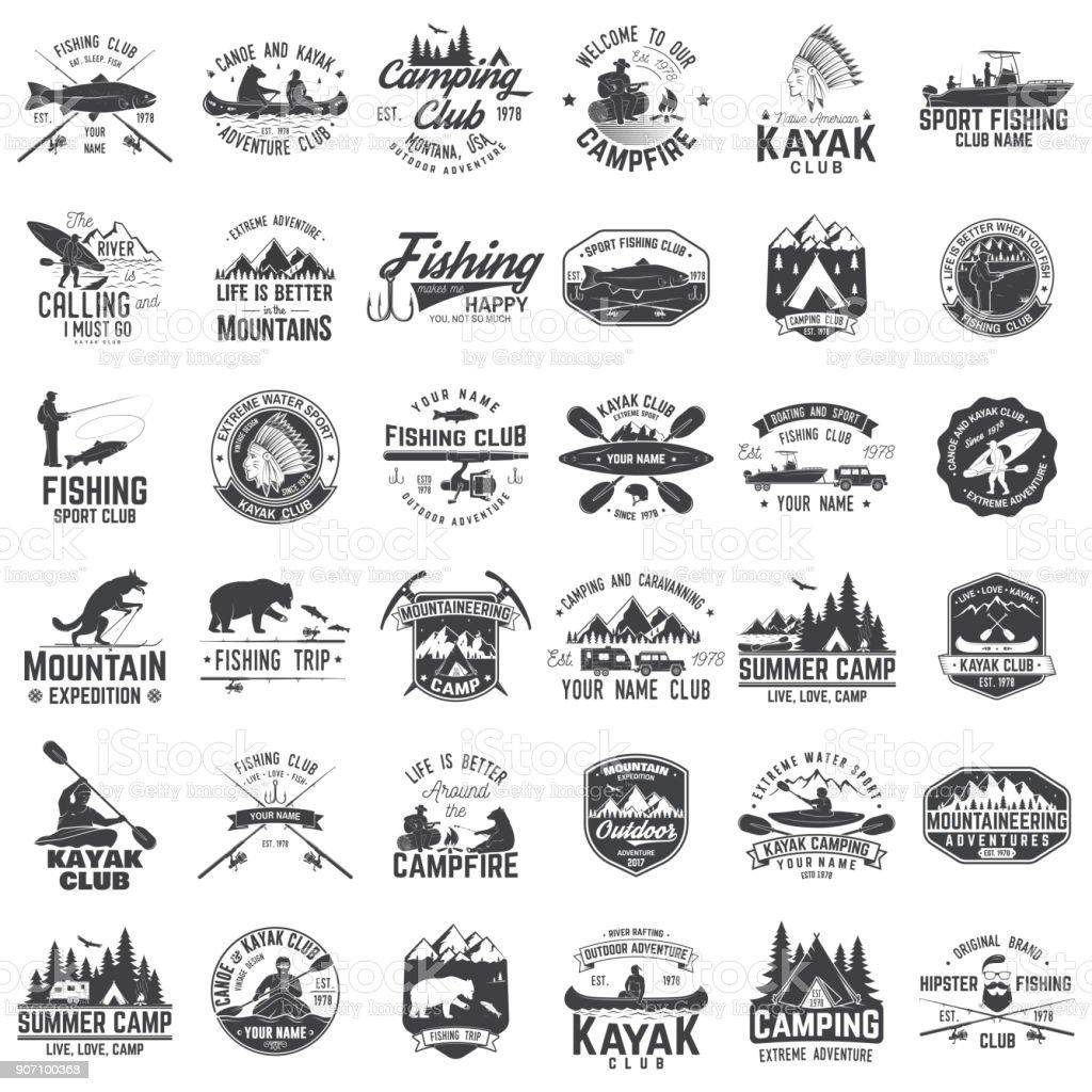 Ensemble de canot, kayak, pêche et camping badge club ensemble de canot kayak pêche et camping badge club vecteurs libres de droits et plus d'images vectorielles de activité de plein air libre de droits