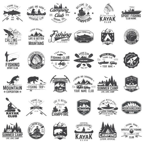 ilustrações, clipart, desenhos animados e ícones de conjunto de canoa, caiaque, pesca e camping distintivo do clube - exterior