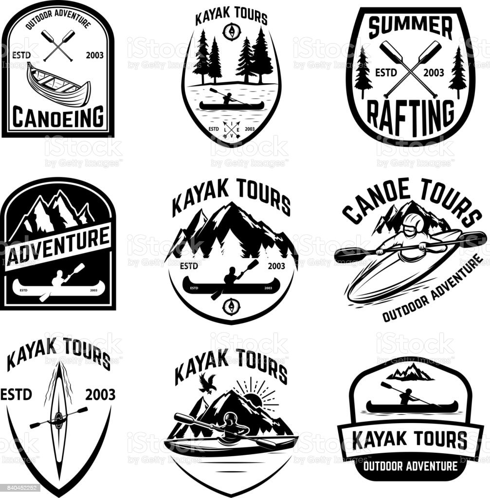 Set of canoeing badges isolated on white background. kayaking, canoe tours. vector art illustration