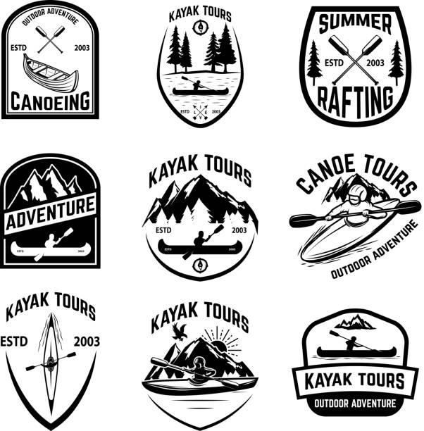 set of canoeing badges isolated on white background. kayaking, canoe tours. - kayaking stock illustrations, clip art, cartoons, & icons
