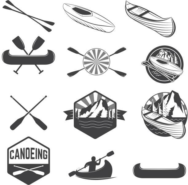 Set Of Canoeing Labels And Design Elements Vector Art Illustration