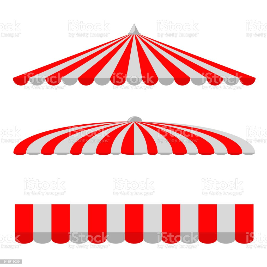 Set of Canopy, Red and White, Isolated on White vector art illustration
