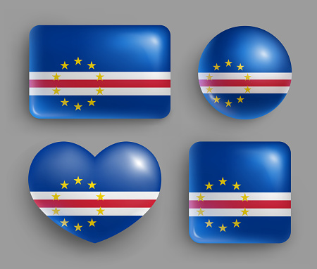 Set of Cape Verde country flag glossy buttons