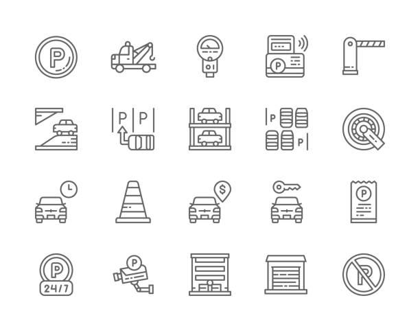 illustrations, cliparts, dessins animés et icônes de ensemble d'icônes de ligne de stationnement de voiture. camion de remorquage, barrière automatique, serrure de roue de voiture, service de covoiturage, porte automatique et plus. - gare