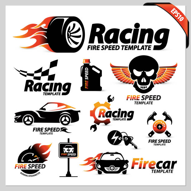 set of car racing logotipe symbols vector set of car racing logotype symbols containing isolated graphic design elements for street racing & other car sports, the illustration is perfect for brochures, magazines, web & print materials auto racing stock illustrations