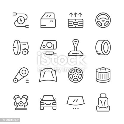 Set of car related line icons isolated on white. Vector illustration
