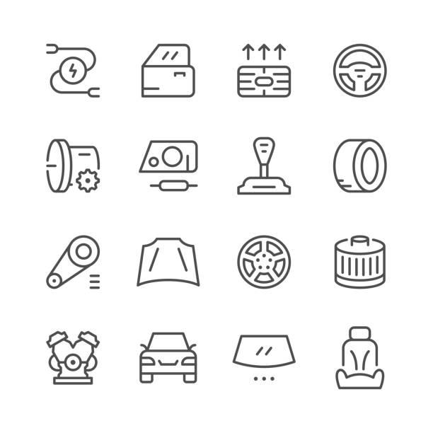 車的一組相關的線圖示 - 個人飾物 幅插畫檔、美工圖案、卡通及圖標