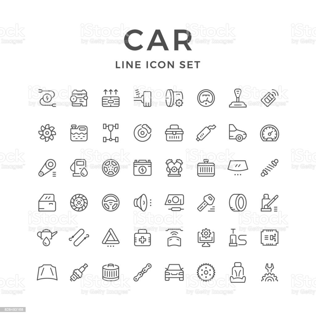 Set of car related line icons - illustrazione arte vettoriale