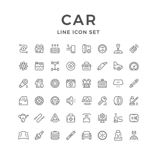 Set of car related line icons Set of car related line icons isolated on white. Vector illustration vehicle part stock illustrations