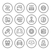 Set of car related round line icons isolated on white. Vector illustration