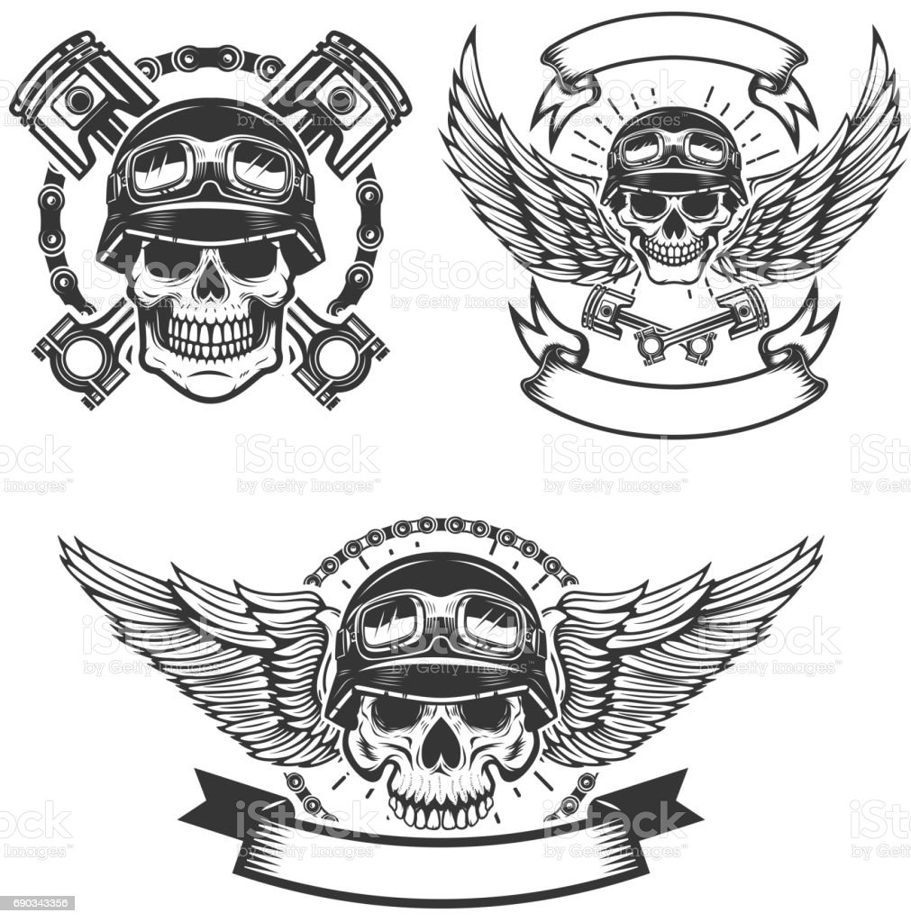 Set of car repair and racing emblems. Spark plug with wings, racer skull, pistons and wheel. Design elements for label, badge. Vector illustration vector art illustration