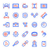 Set of Car Service and Maintenance Related Line Icons. Editable Stroke. Simple Outline Icons.