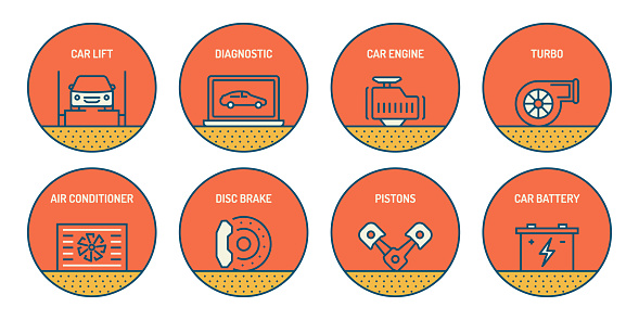 Set of Car Service and Repair Shop Related Line Icons. Simple Outline Icons.