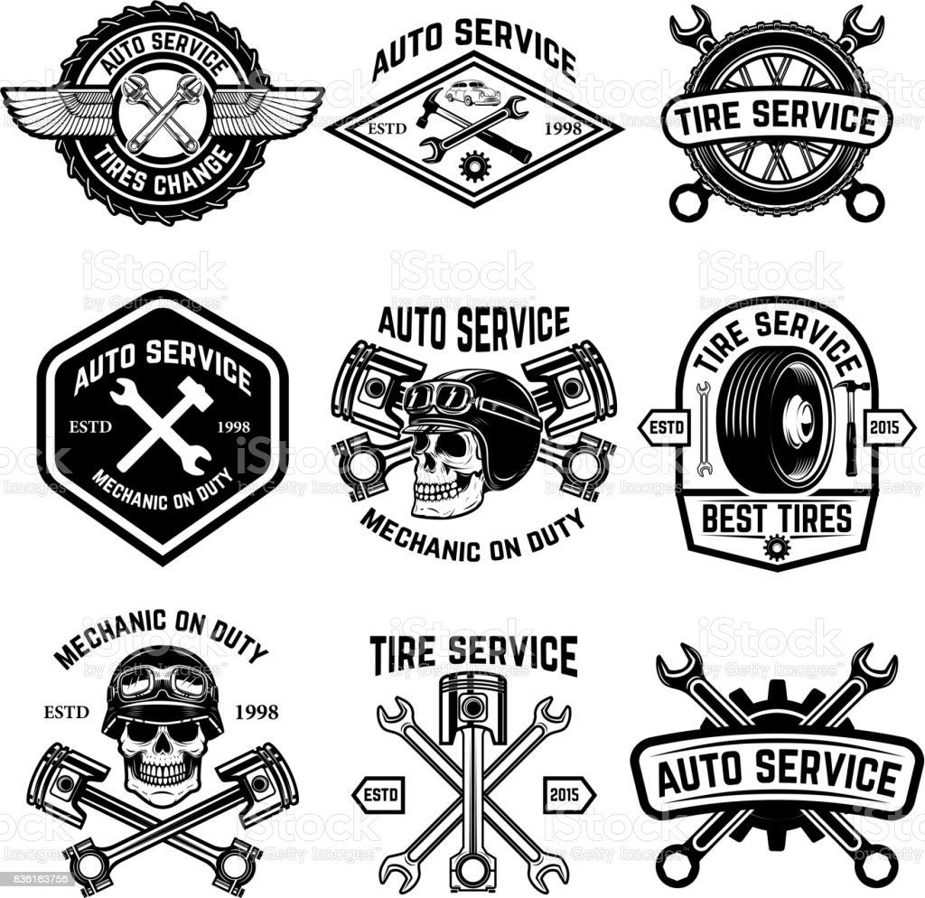 Set of car service, auto service, tire change badges isolated on white background. Design elements for label, emblem, sign. Vector illustration vector art illustration