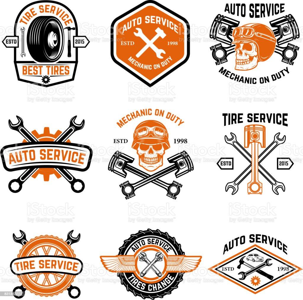 Autoservice, Autoservice, Reifen ändern Abzeichen – Vektorgrafik