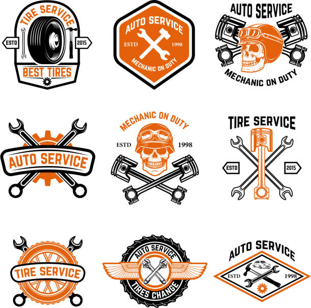 set of car service, auto service, tire change badges - mechanic stock illustrations, clip art, cartoons, & icons