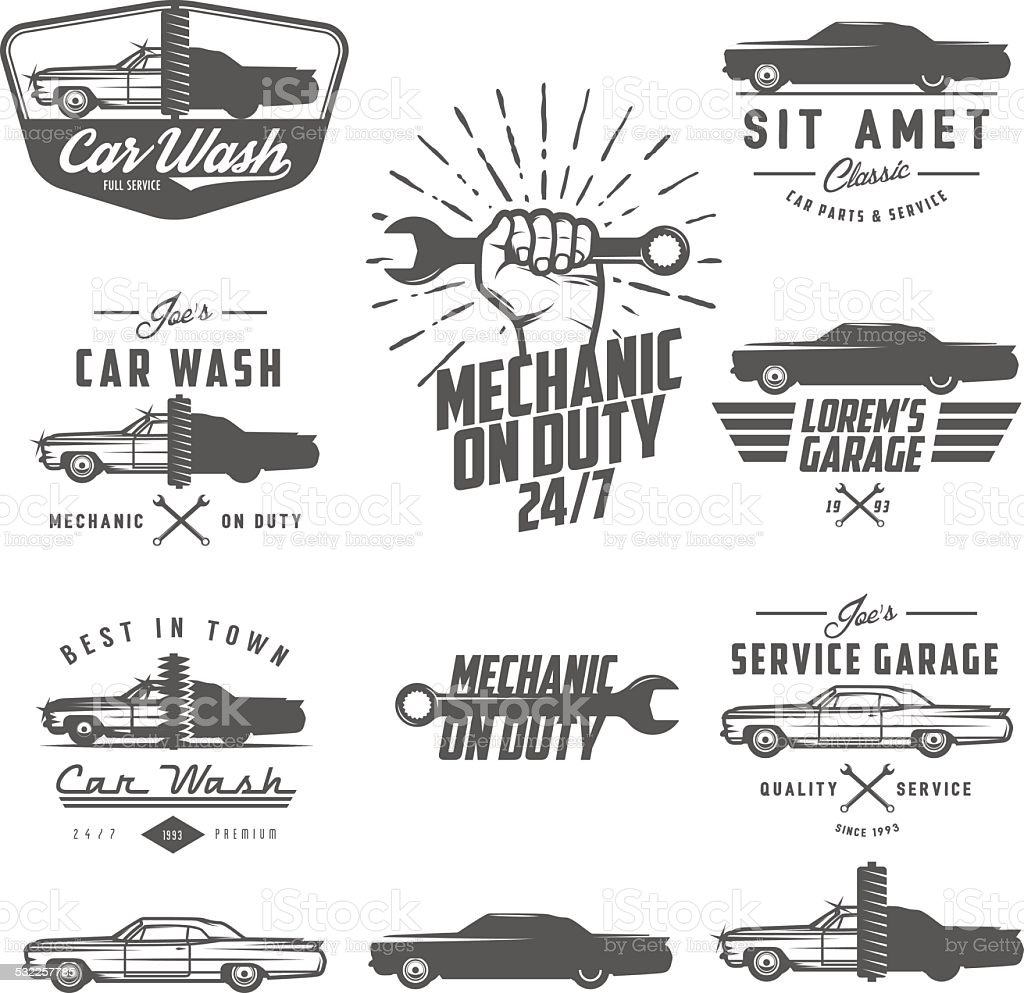 Set of car service labels, emblems and design elements vector art illustration