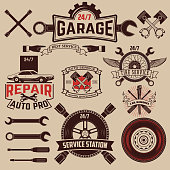 Set of car service labels