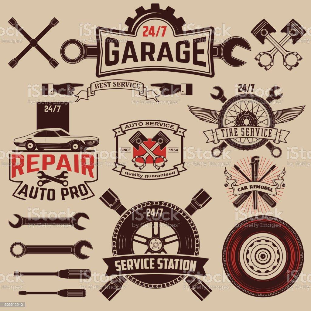 Set of car service labels vector art illustration