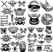 Set of car service station emblems and design elements. For label, sign, banner, t shirt, poster. Vector illustration