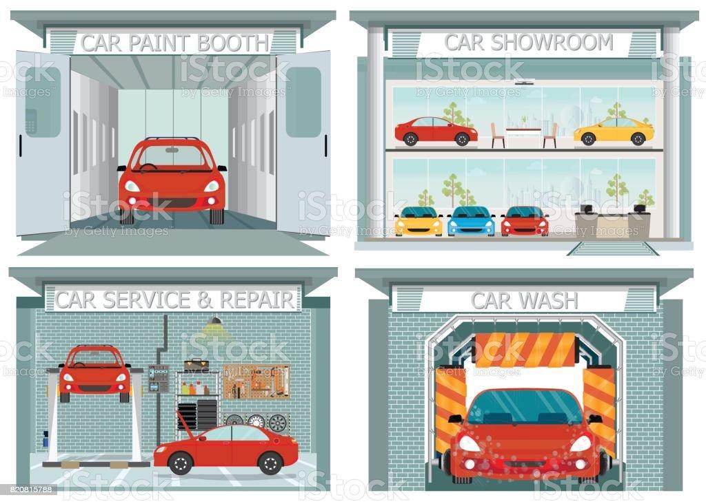 Set of car service station. vector art illustration