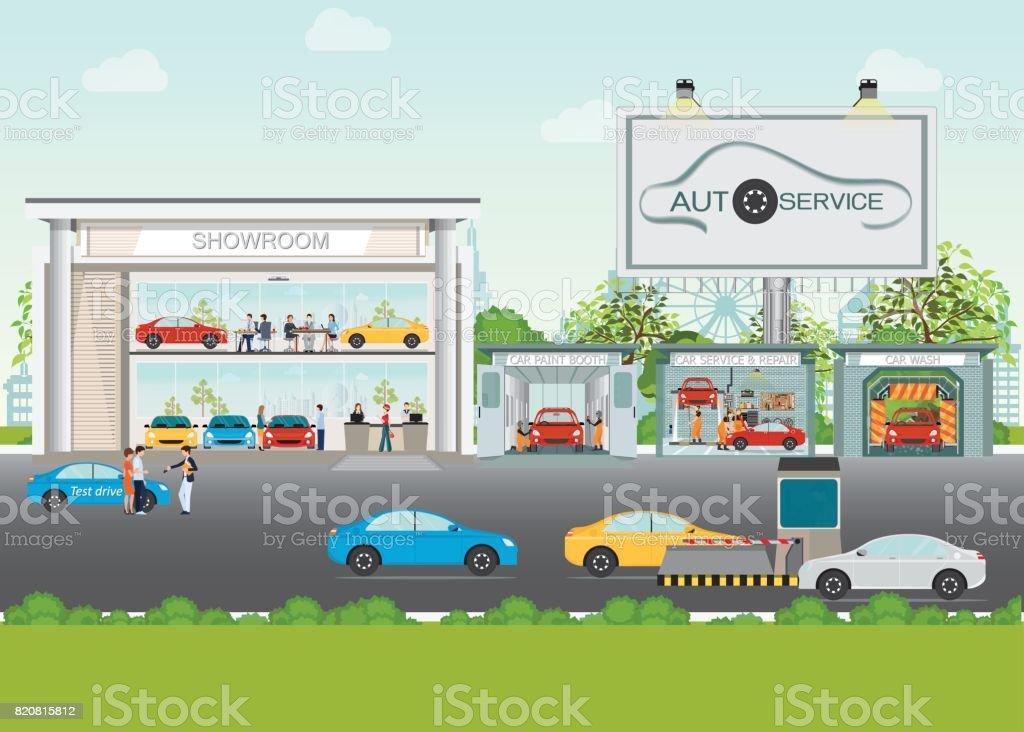 Satz von Auto Service-Station. – Vektorgrafik