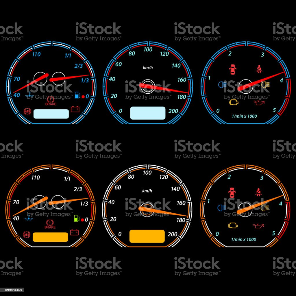 Set of car speedometers royalty-free stock vector art