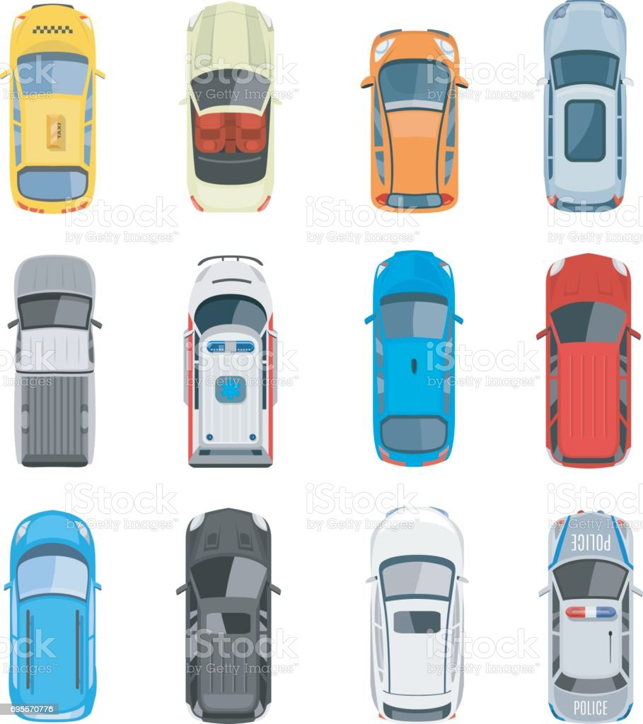 Set of car top view vector set vector art illustration