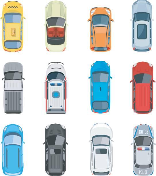 satz von auto-draufsicht-vektor-set - cabrio stock-grafiken, -clipart, -cartoons und -symbole