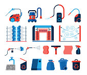 Collection of icons presenting equipment used for car wash.