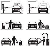Set of car washing pictograms.