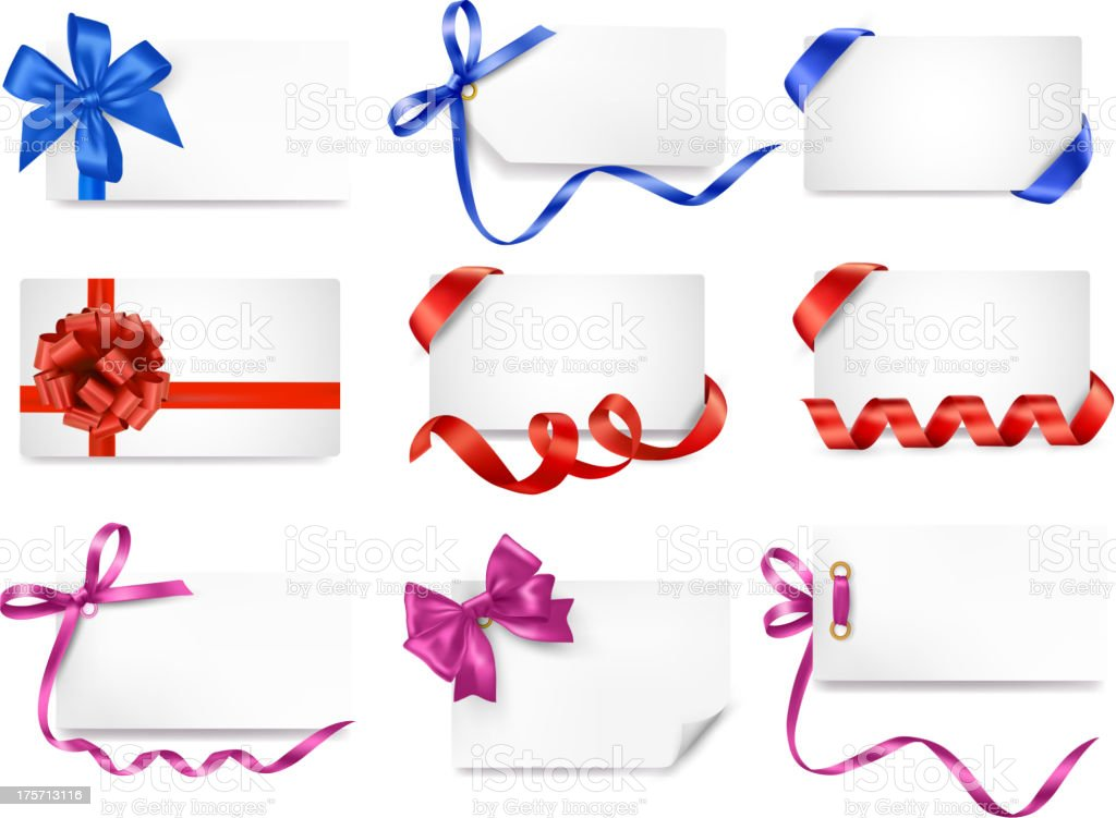 Set of card notes with gift bows and ribbons. vector art illustration