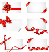 Set of card notes with red gift bows and ribbons. Vector  EPS 10. Transparency effects.