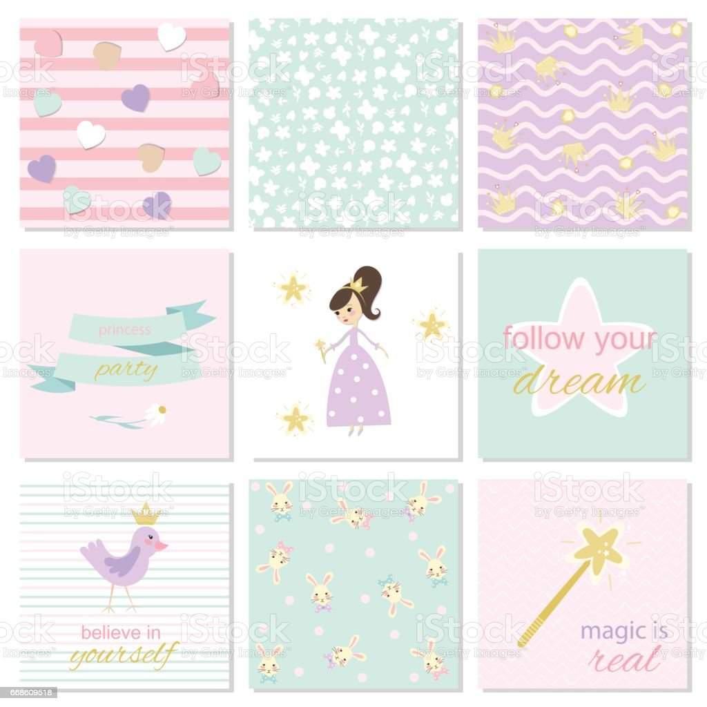 set of card templates for girls stock vector art more images of