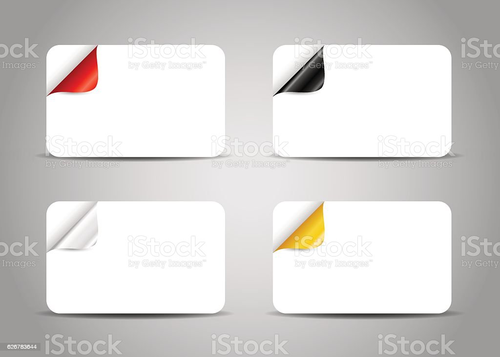 Set of card templates with curled colorful corner. vector art illustration