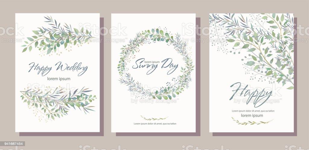 Jeu de carte avec beaux rameaux avec des feuilles. Mariage ornement c jeu de carte avec beaux rameaux avec des feuilles mariage ornement c vecteurs libres de droits et plus d'images vectorielles de arbre libre de droits