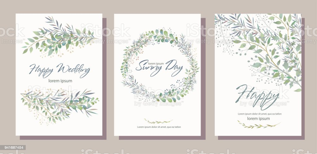 Set of card with beautiful twigs with leaves. Wedding ornament c vector art illustration