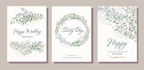 Set of card with beautiful twigs with leaves. Wedding ornament c Set of card with beautiful twigs with leaves. Wedding ornament concept. Imitation of watercolor, isolated on white.  Sketched wreath, floral and herbs garland wedding invitation stock illustrations