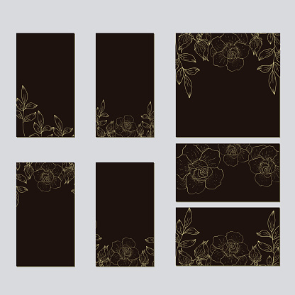 Set of card with flower.Vector decorative greeting card.