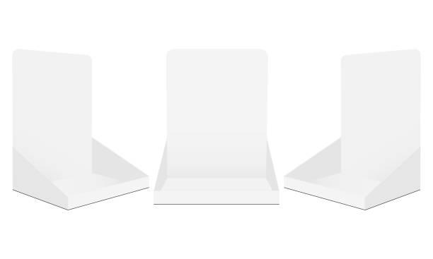 Set of cardboard display boxes mockups isolated on white background Set of cardboard display boxes mockups isolated on white background. Vector illustration showing stock illustrations