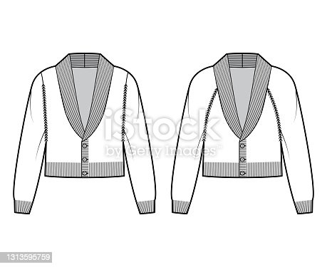 Set of Cardigans cropped Shawl collar Sweater technical fashion illustration with sleeves, slim fit, knit trim