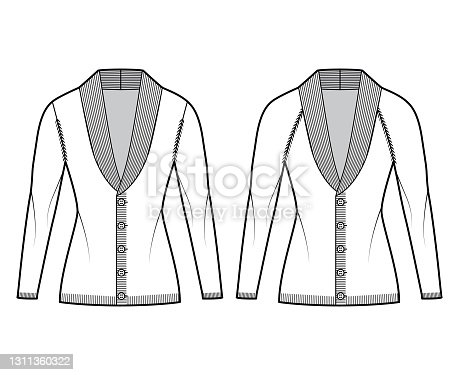 Set of Cardigans Shawl collar Sweater technical fashion illustration with sleeves, slim fit, fingertip length, knit trim